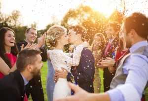 Captured kissing moment in wedding