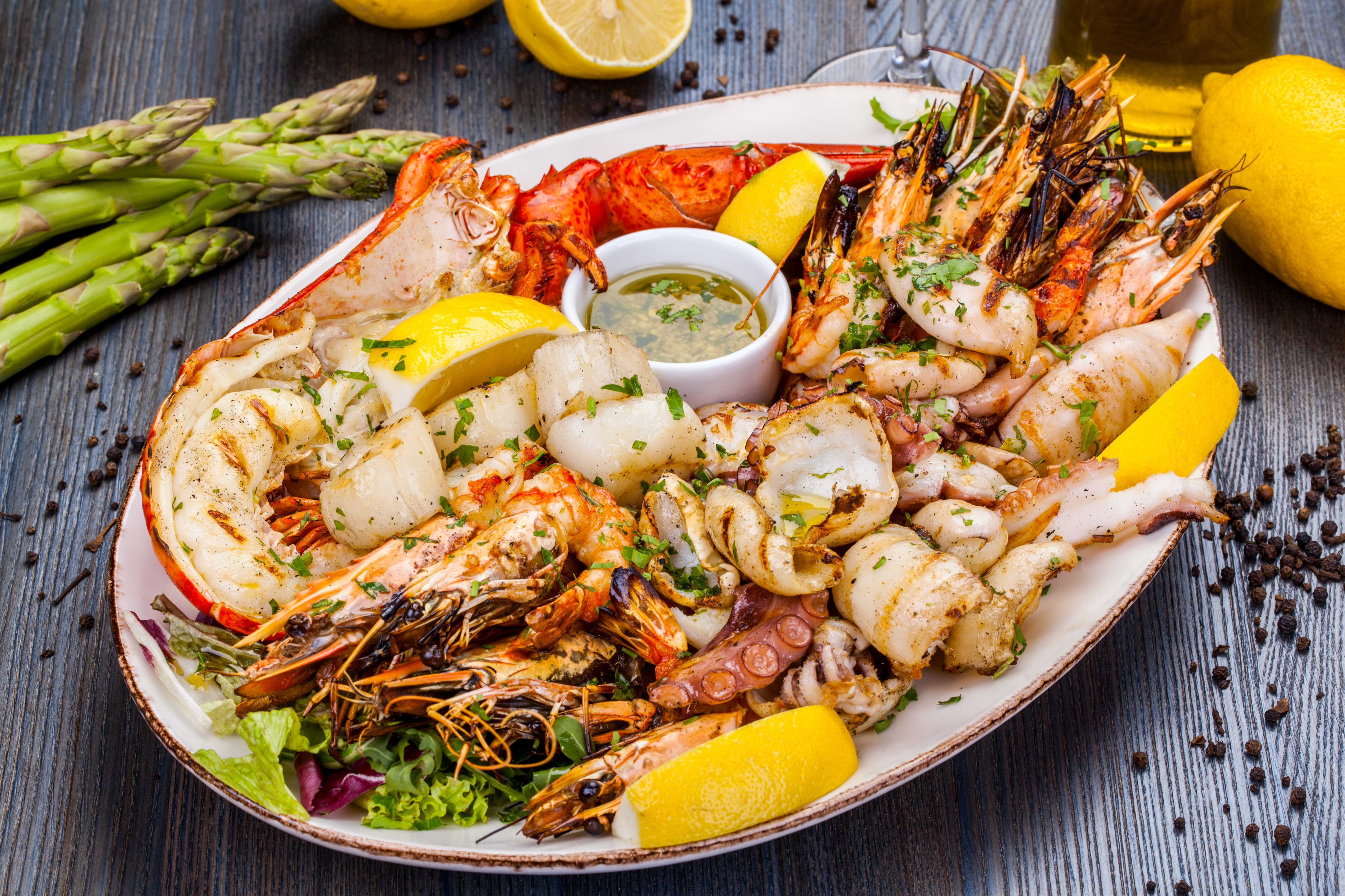 A Plate of Cooked Seafood
