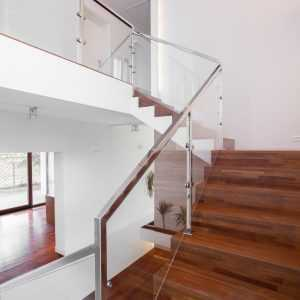 A glass balustrade that leads up to the second floor