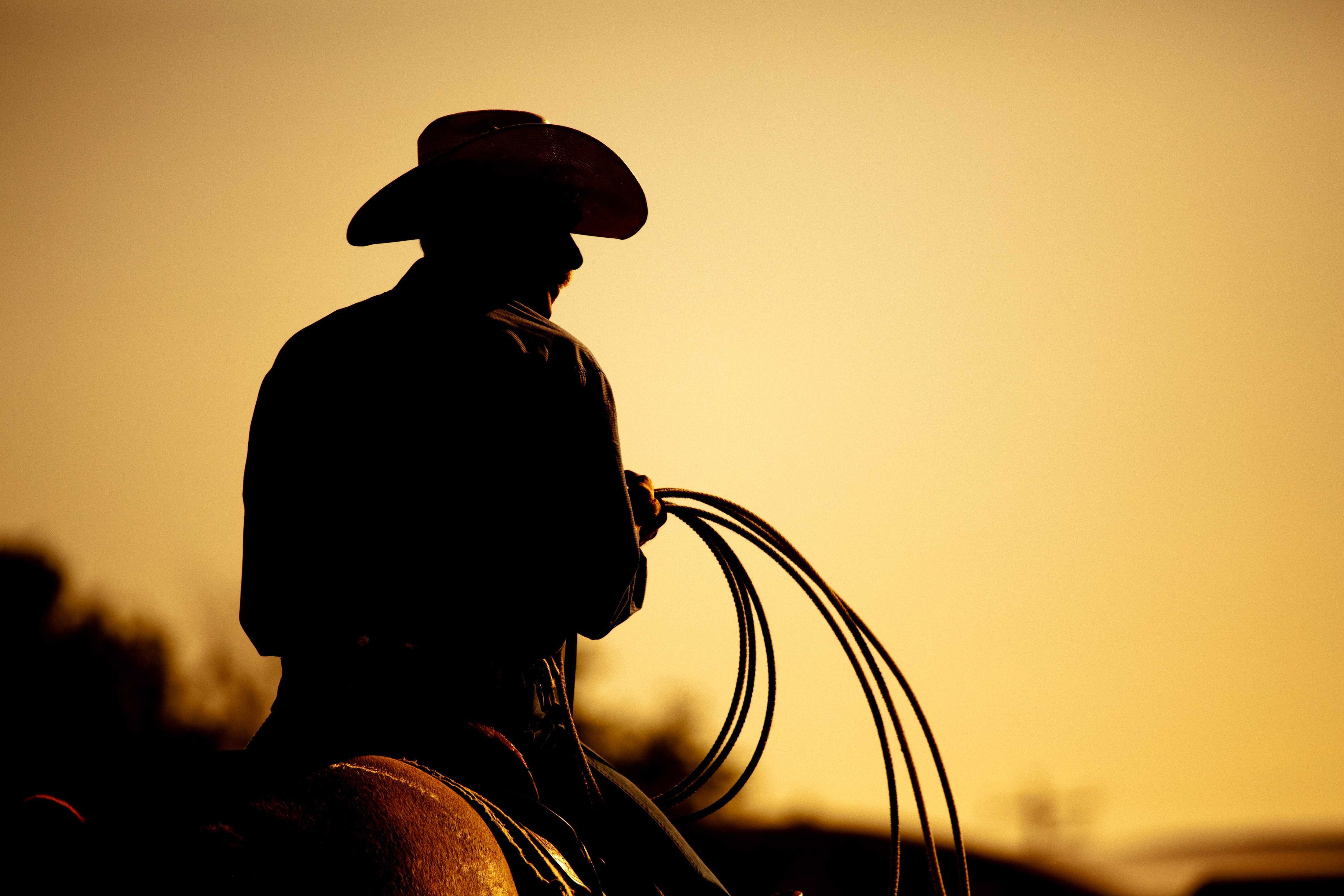 Silhouette of a cowboy riding a horse