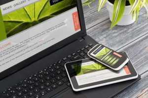 An example of web design being tested on multiple devices