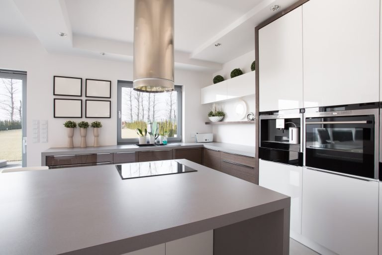 A modern, sophisticated kitchen countertop