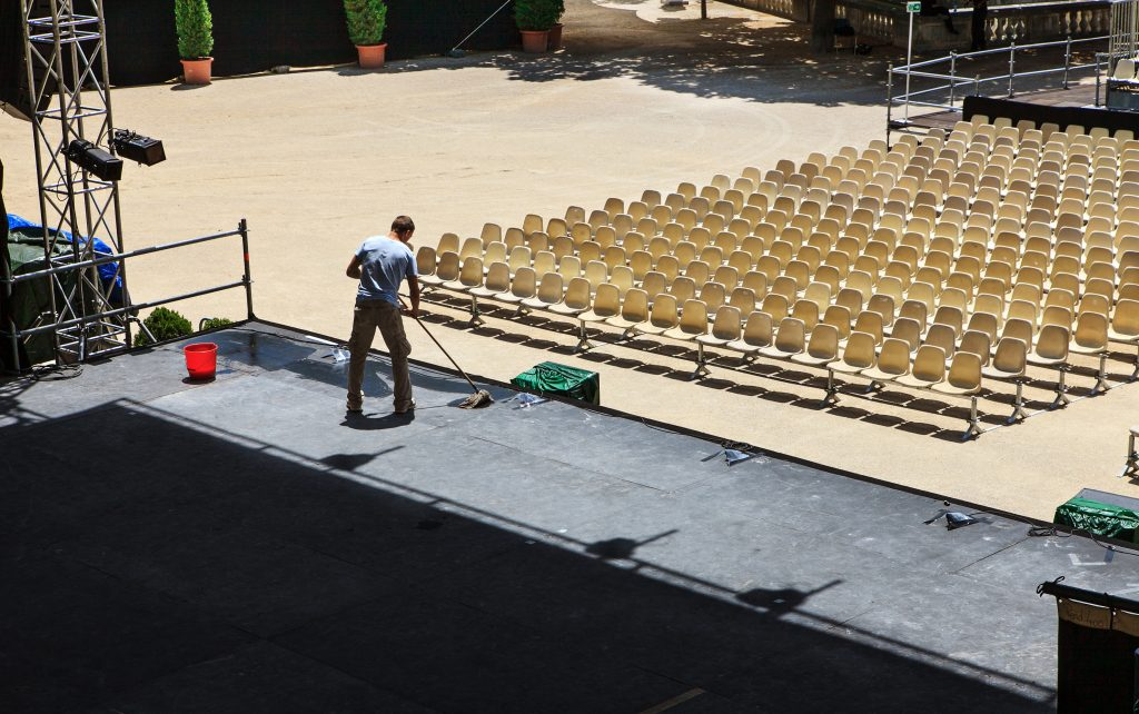 A venue for an event being set up