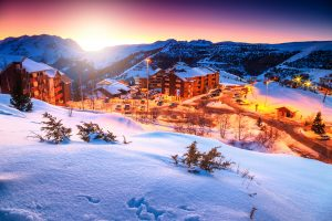 A village on winter season