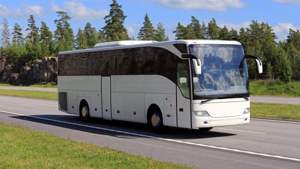 Bus for hire travelling