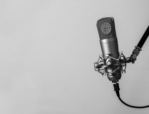 A microphone in a recording studio