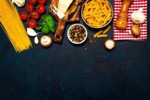 Top view of prepared ingredients