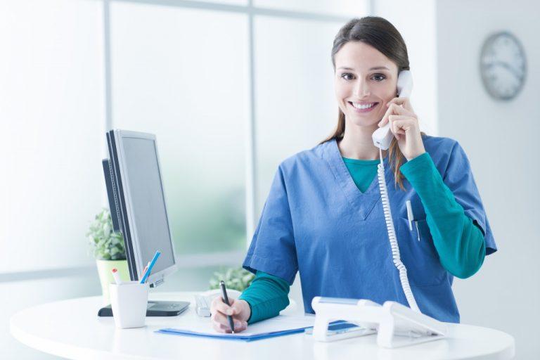 Nurse on the reception desk