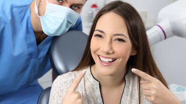 a woman with her dentist