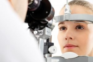 Woman undergoing eye examination