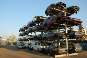 Stack of old car in junkyard