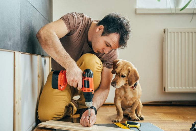 Guy doing house improvements