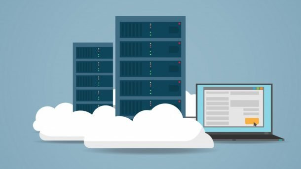 graphic photo of a laptop and storage system in a cloud