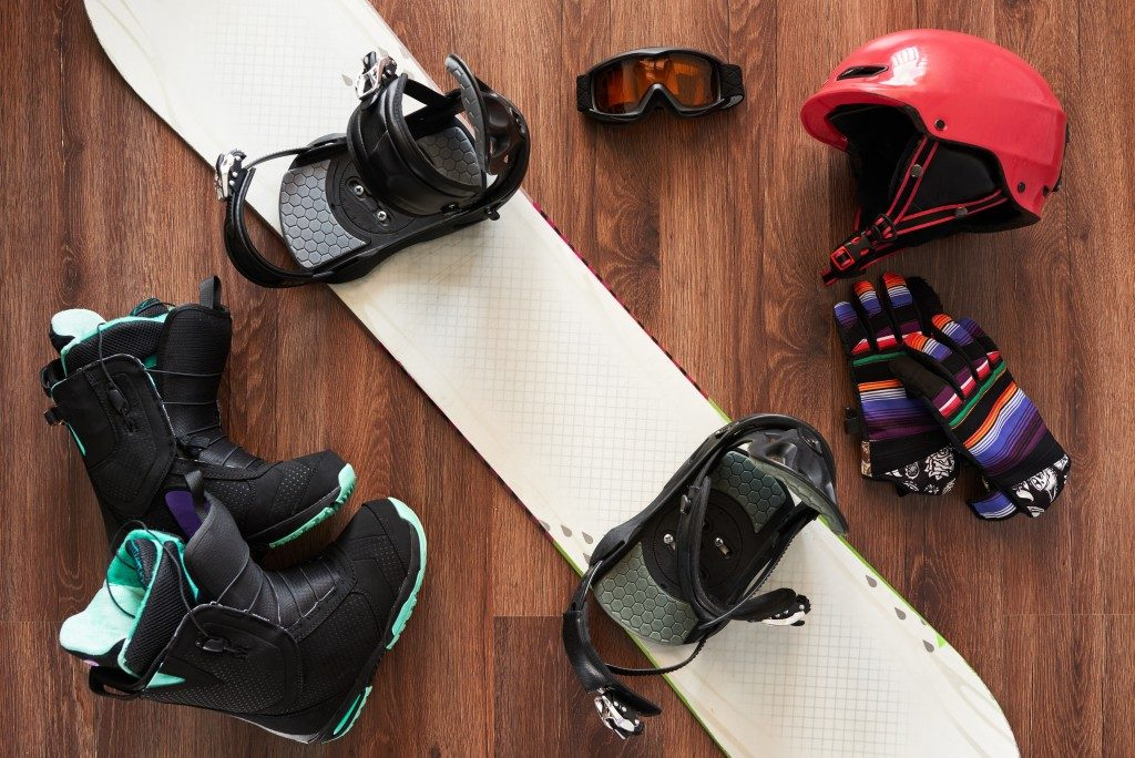 a set of snowboard equipment