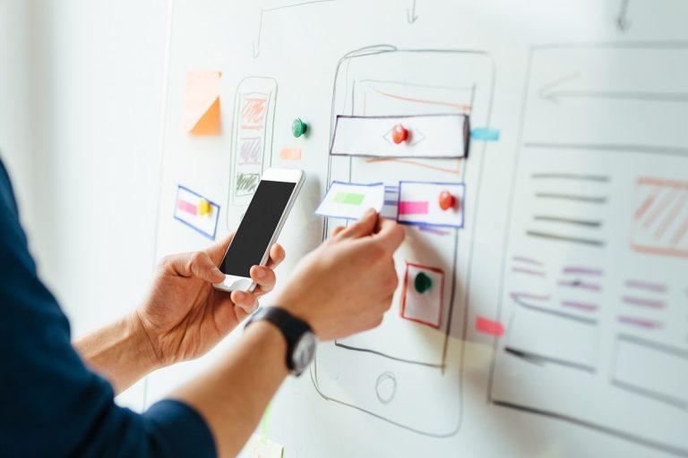 Web designer working on an app