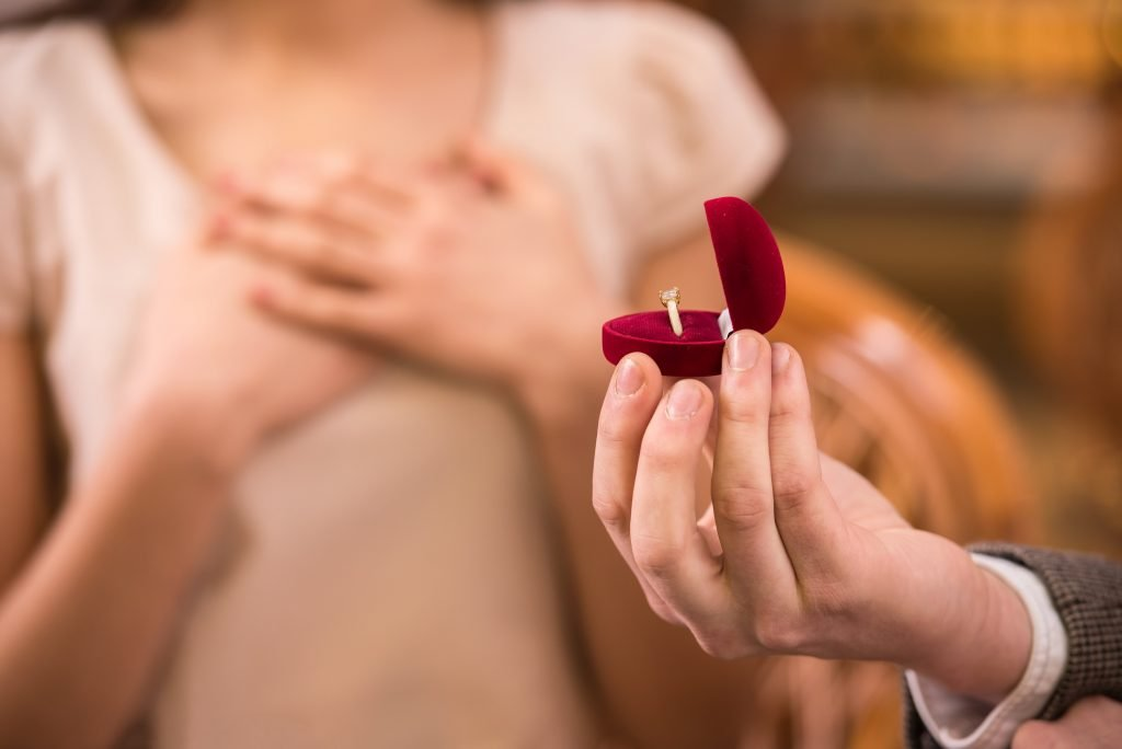 engagement ring in a heart-shaped box