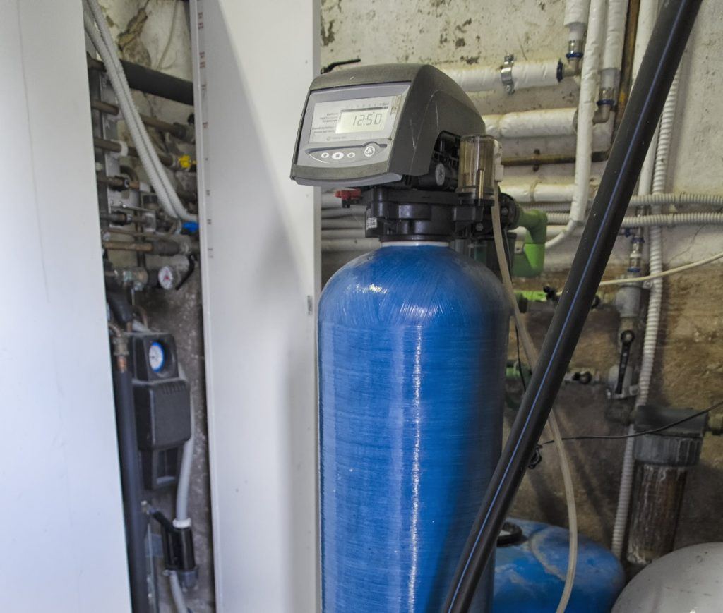 Blue and black water softener