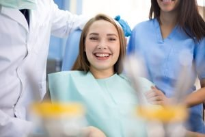 Patient smiling in the dental office