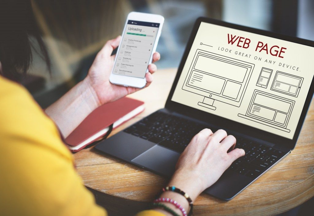 Woman building a personal website
