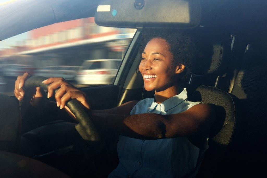 a woman driving