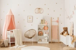 Baby room with decal wallpaper