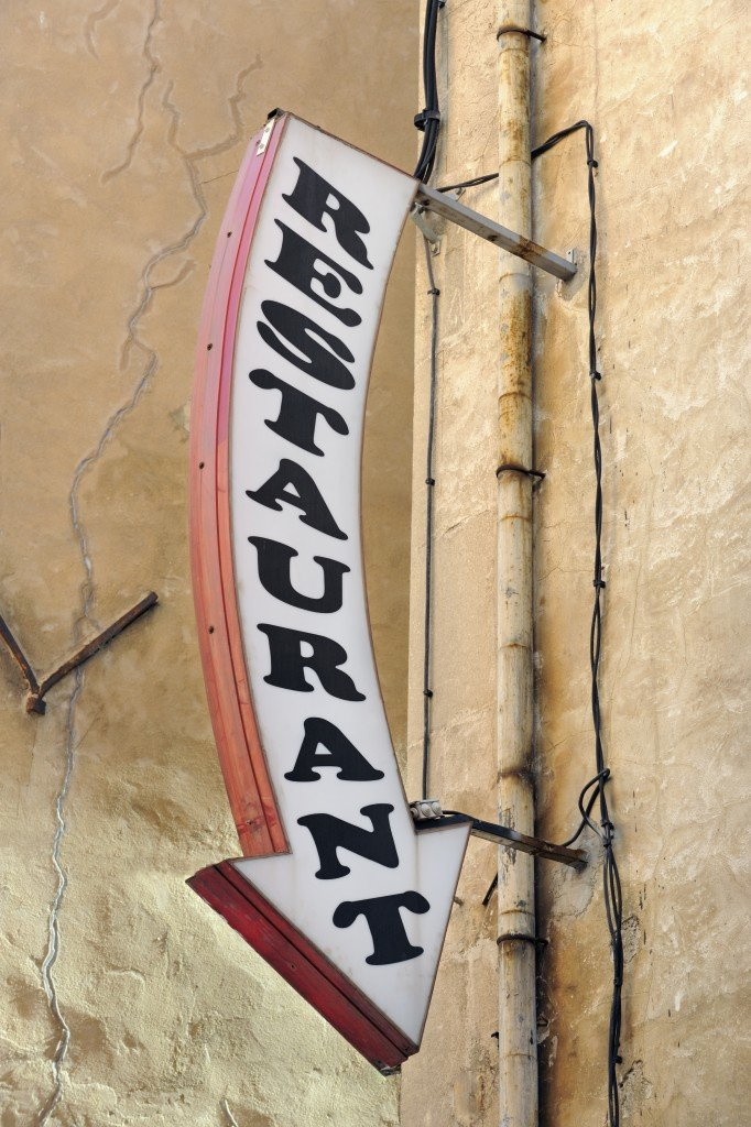 Restaurant arrow sign