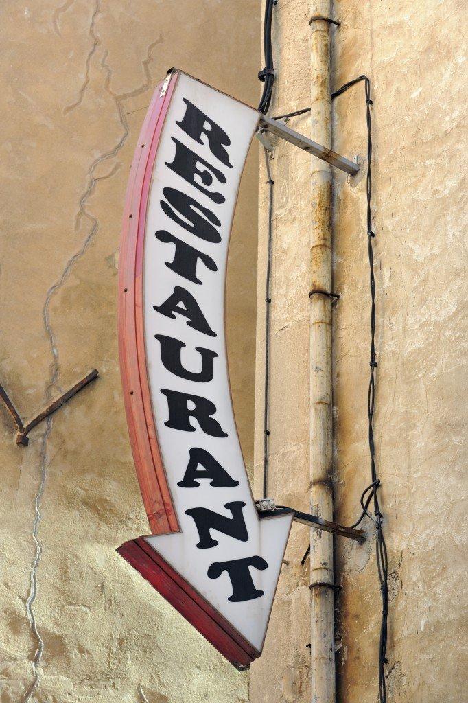 Restaurant arrow sign