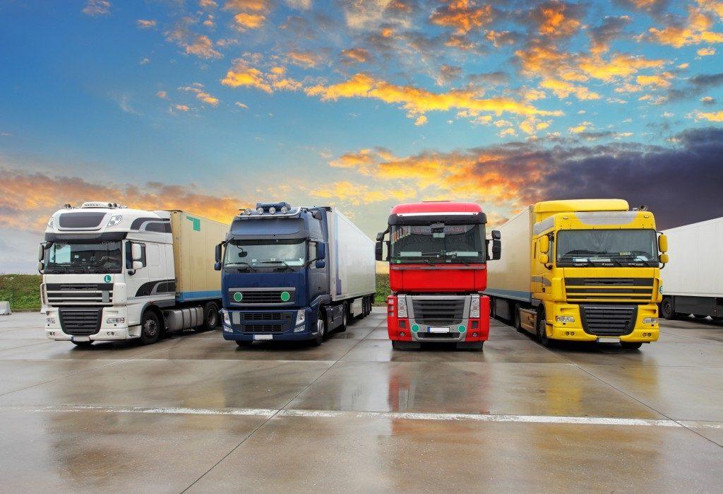 four trucks in a row