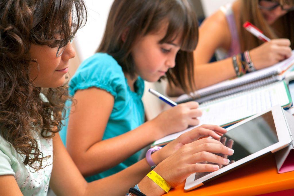 Girls doing their homework