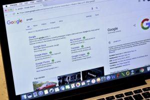 Google page on laptop