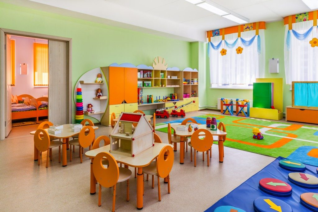 vacant classroom designed with vibrant colors