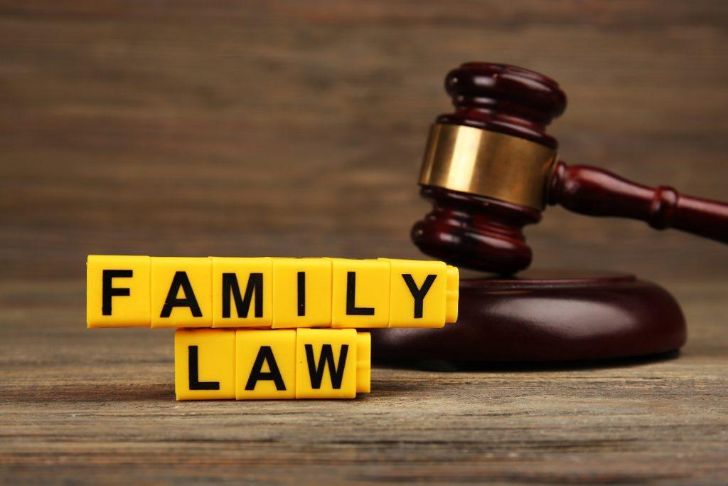 yellow blocks saying family law