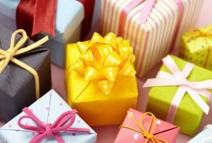 boxes of gifts wrapped in colorfully