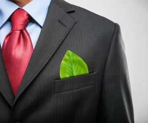 leaf on a businessman's suit pocket