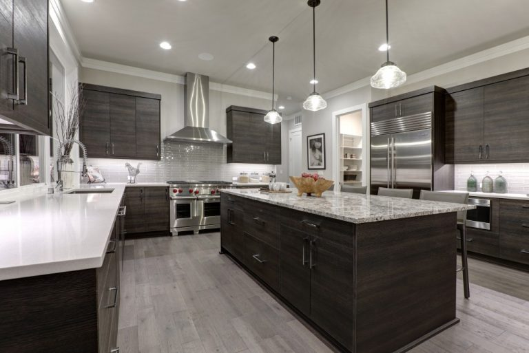 modern kitchen in white and dark wood colors