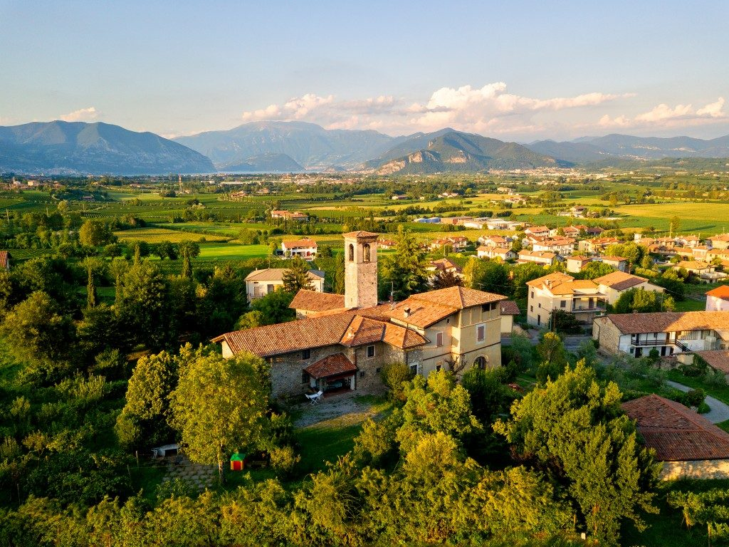 Aerial view of Franciacorta and Torbiato Village in Brescia province, Lombardy, Italy