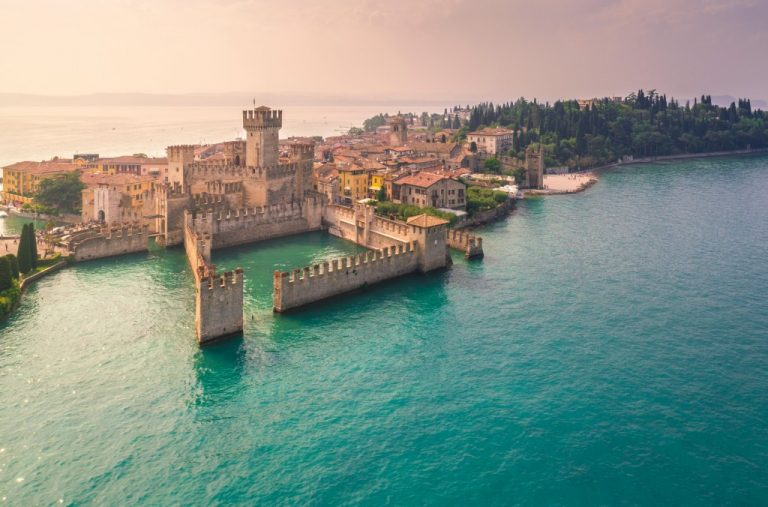 Aerial view of Sirmione, an ancient village on southern Garda Lake. Brescia province, Lombardy