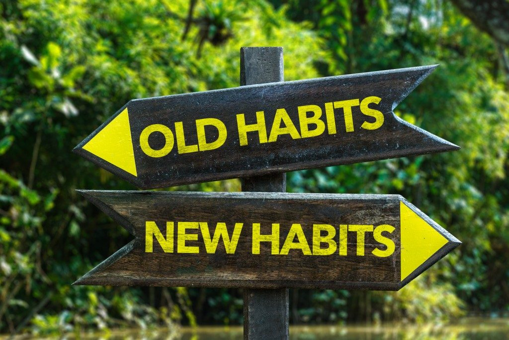 old and new habits road signs
