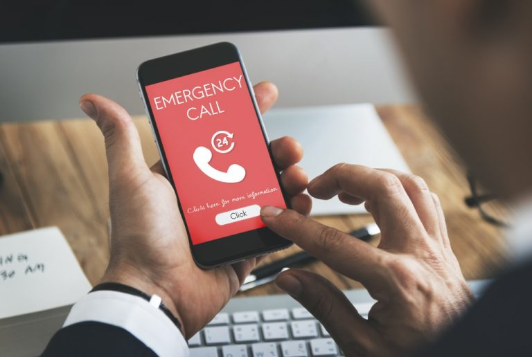 person making an emergency call