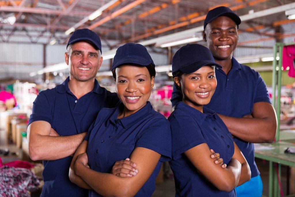 factory workers in uniform