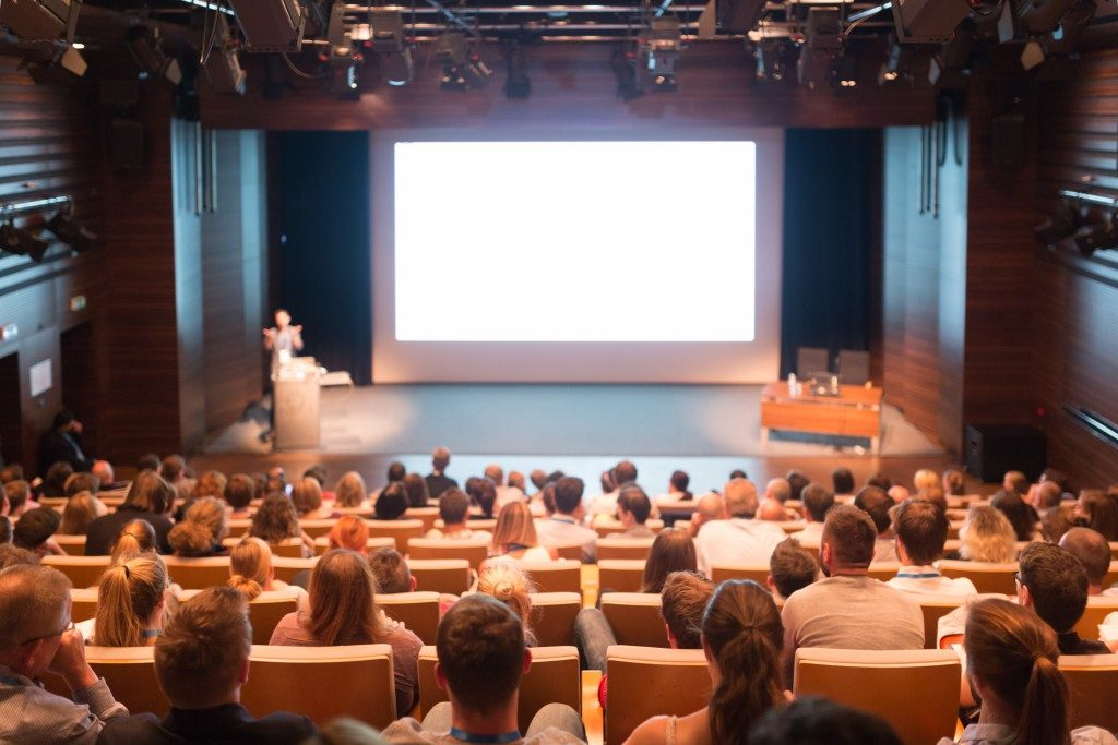 A business conference in a theater
