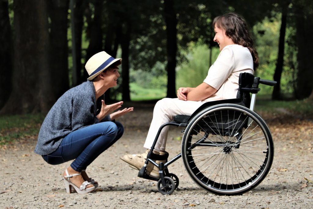 woman on a wheelchair