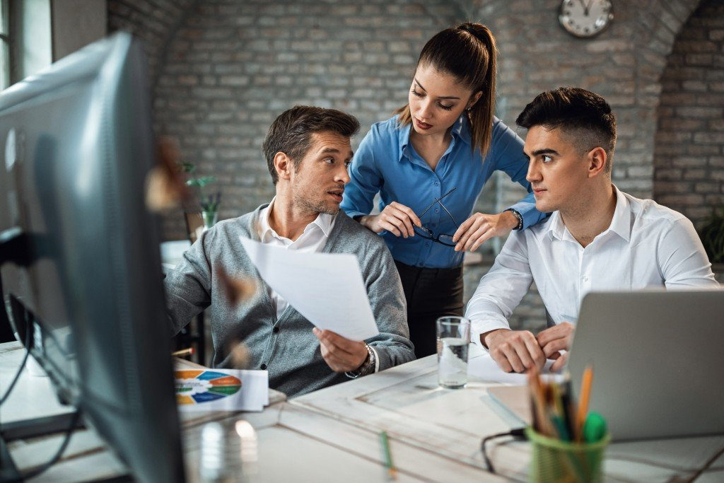 Small business team in discussion