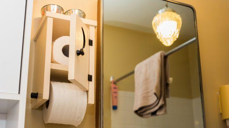 toilet rolls in the bathroom