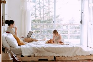 working at home with child