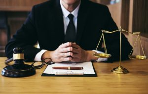 lawyer on his desk