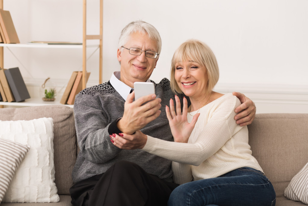 old people on a videocall